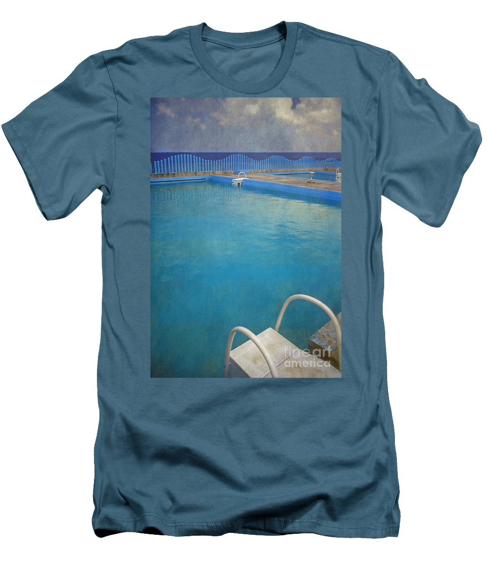 Havana Men's T-Shirt (Athletic Fit) featuring the photograph Havana Cuba Swimming Pool And Ocean by David Zanzinger