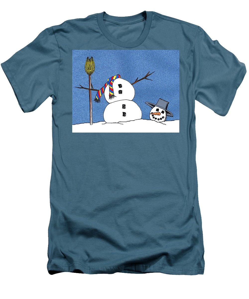 Snowman Men's T-Shirt (Athletic Fit) featuring the digital art Headless Snowman by Nancy Mueller