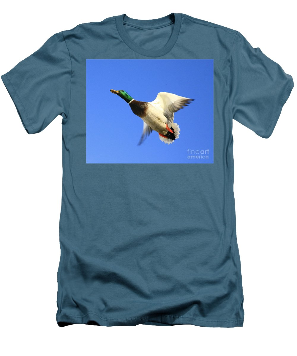 Duck Men's T-Shirt (Athletic Fit) featuring the photograph Heads Up by Robert Pearson