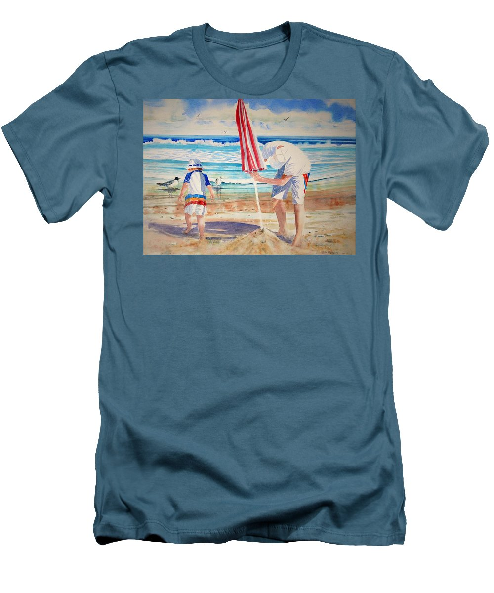 Beach Men's T-Shirt (Athletic Fit) featuring the painting Helping Dad Set Up The Camp by Tom Harris