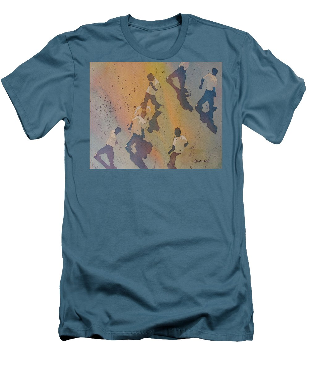 Men Men's T-Shirt (Athletic Fit) featuring the painting High Noon At The Gravel Spit II by Jenny Armitage