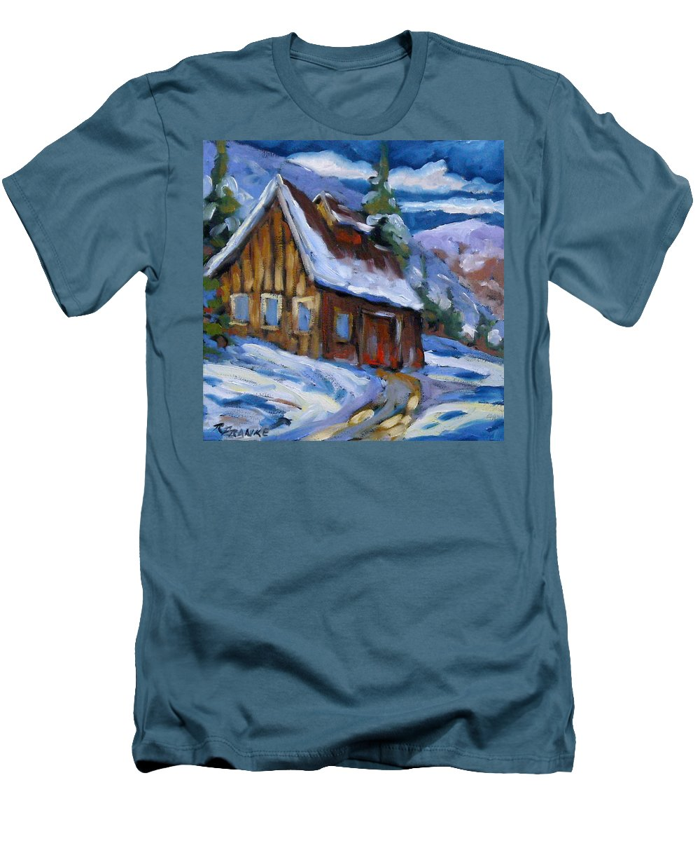 Art Men's T-Shirt (Athletic Fit) featuring the painting Hillsidebarn In Winter by Richard T Pranke