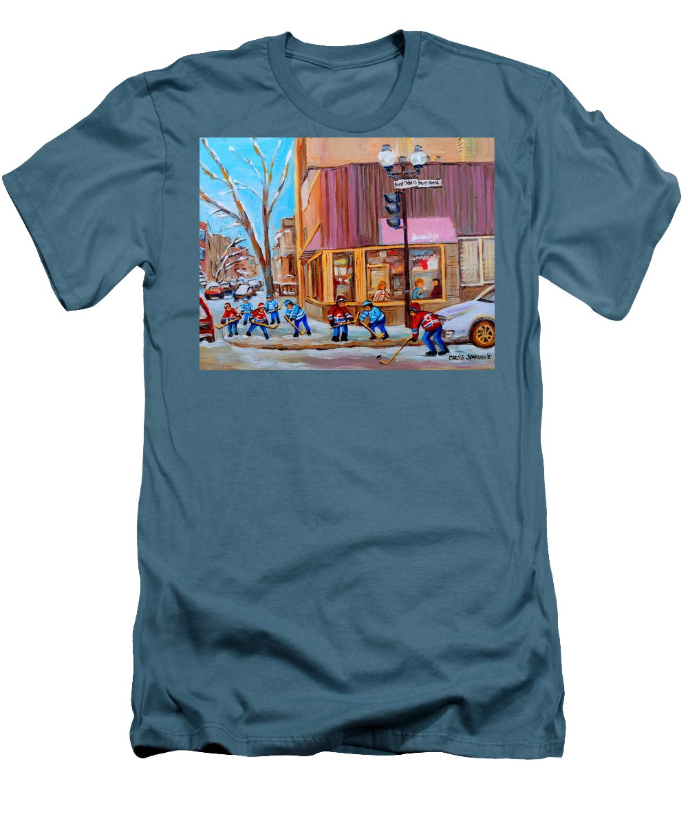 Beautys Luncheonette. Men's T-Shirt (Athletic Fit) featuring the painting Hockey At Beautys Deli by Carole Spandau