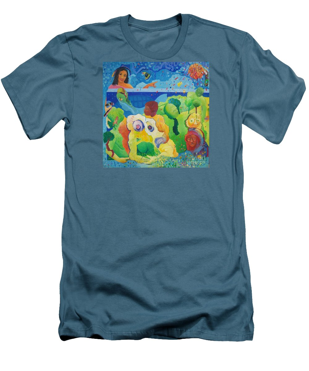 Human Relationships Men's T-Shirt (Athletic Fit) featuring the painting Holding Lifes Illusion by Richard Heley