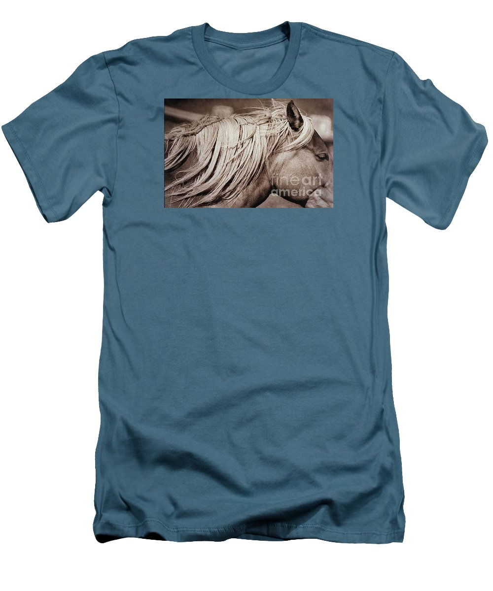 Horse Men's T-Shirt (Athletic Fit) featuring the photograph Horse's Mane by Michael Ziegler