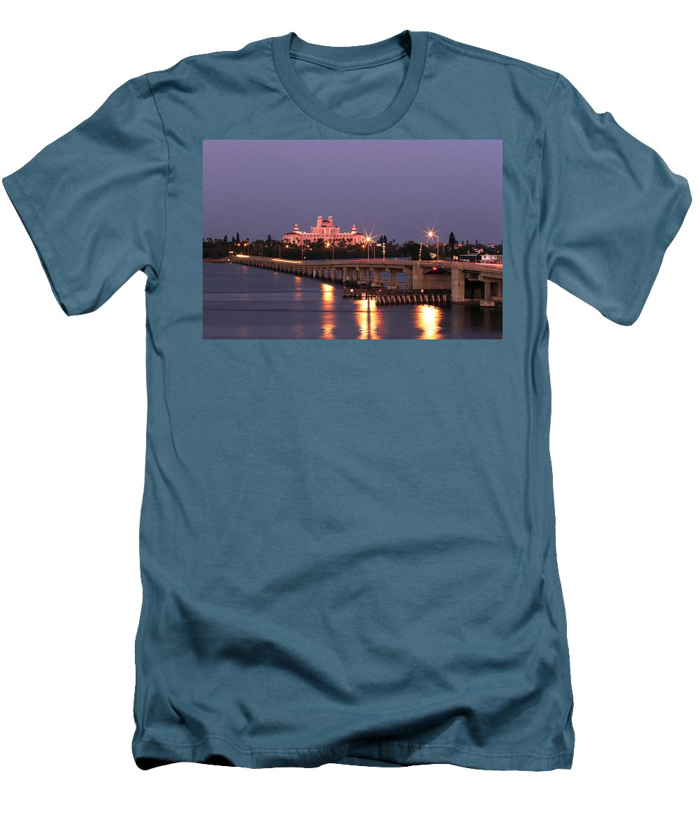 Don Cesar Men's T-Shirt (Athletic Fit) featuring the photograph Hotel Don Cesar The Pink Palace St Petes Beach Florida by Mal Bray