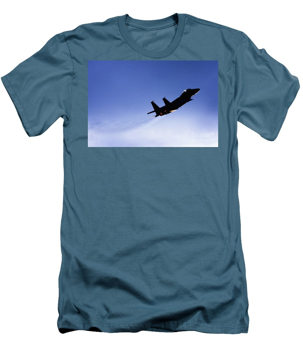 Aircraft Men's T-Shirt (Athletic Fit) featuring the photograph Iaf F15i Fighter Jet by Nir Ben-Yosef