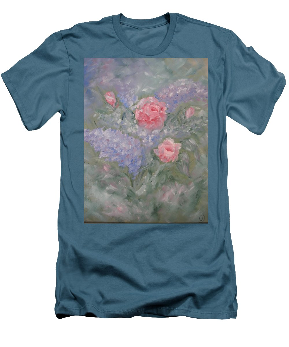 Flowers Men's T-Shirt (Athletic Fit) featuring the painting In Bloom by Carrie Mayotte