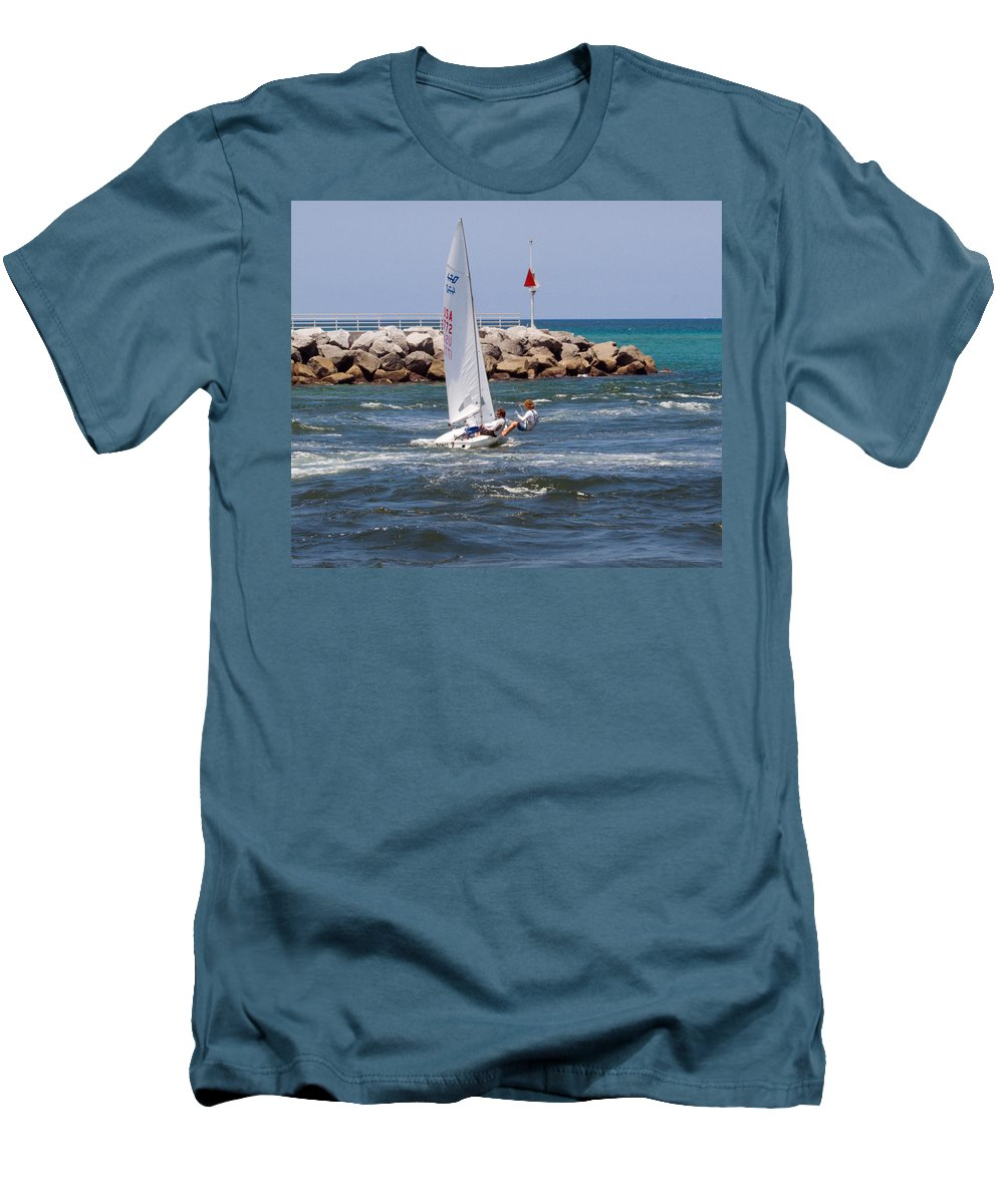 Florida; Jupiter; Inlet; Loxahatchee; River; Beach; Shore; Coast; Sand; Sandy; Ocean; Sea; Atlantic; Men's T-Shirt (Athletic Fit) featuring the photograph Jupiter Inlet In Florida by Allan Hughes