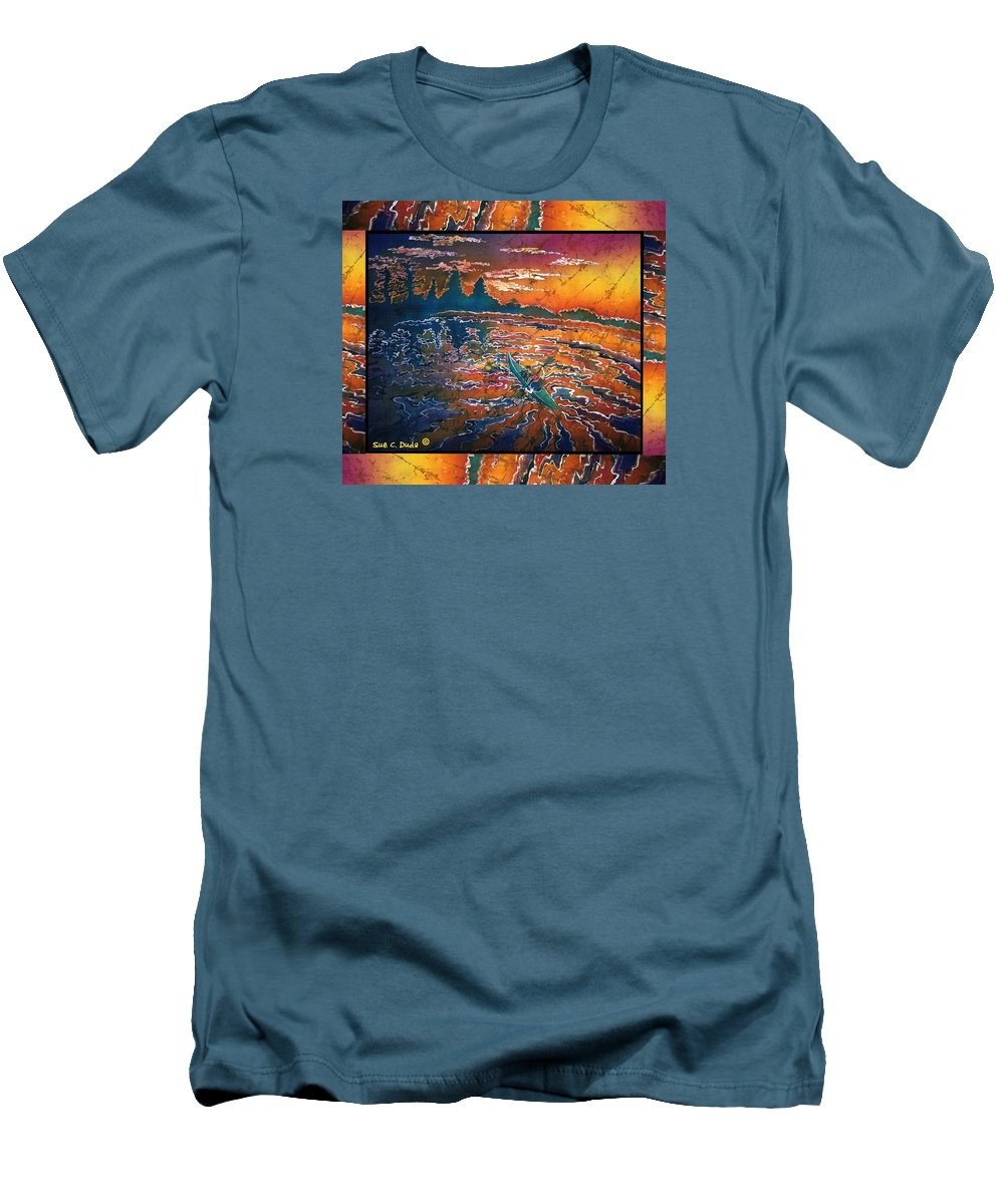 Kayak Men's T-Shirt (Athletic Fit) featuring the painting Kayaking Serenity - Bordered by Sue Duda