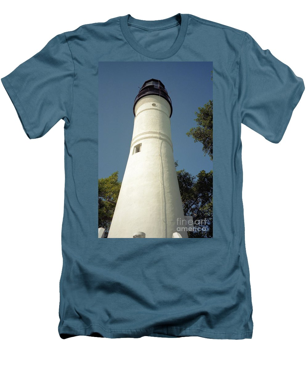 Lighthouses Men's T-Shirt (Athletic Fit) featuring the photograph Key West Lighthouse by Richard Rizzo
