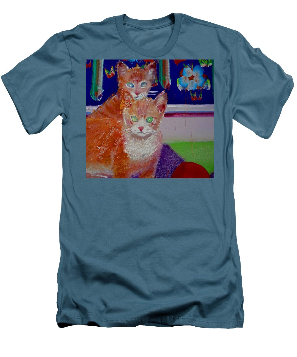 Kittens Men's T-Shirt (Athletic Fit) featuring the painting Kittens With Wild Wallpaper by Charles Stuart