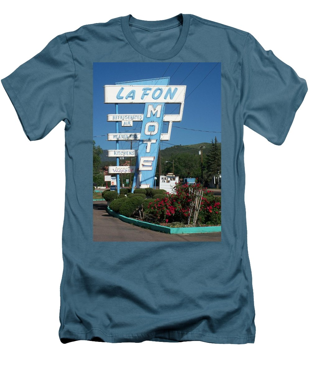 Vintage Motel Signs Men's T-Shirt (Athletic Fit) featuring the photograph Lafon Motel by Anita Burgermeister