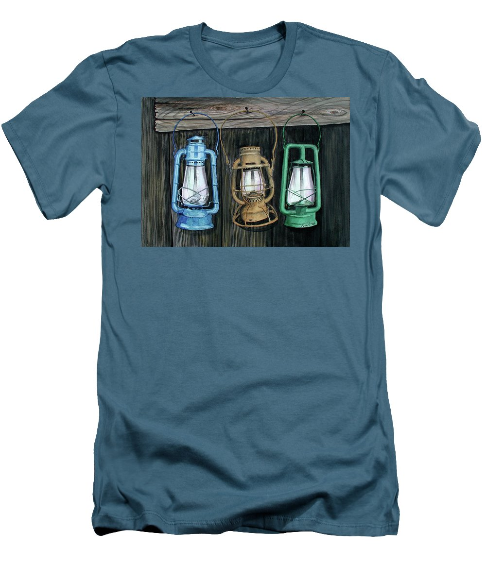 Lanterns Men's T-Shirt (Athletic Fit) featuring the painting Lanterns by Ferrel Cordle