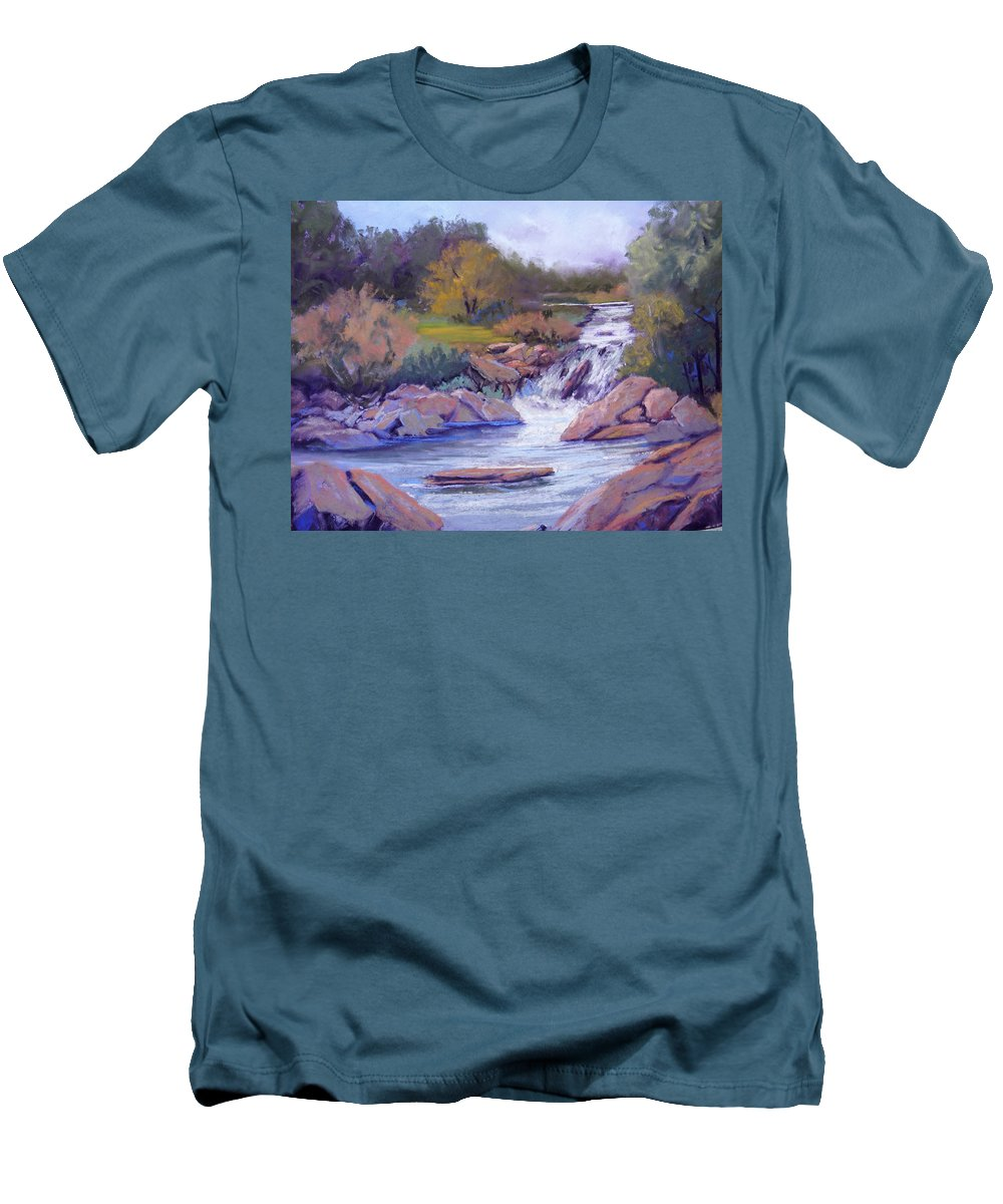 Pastel Men's T-Shirt (Athletic Fit) featuring the painting Larsen Falls by Heather Coen