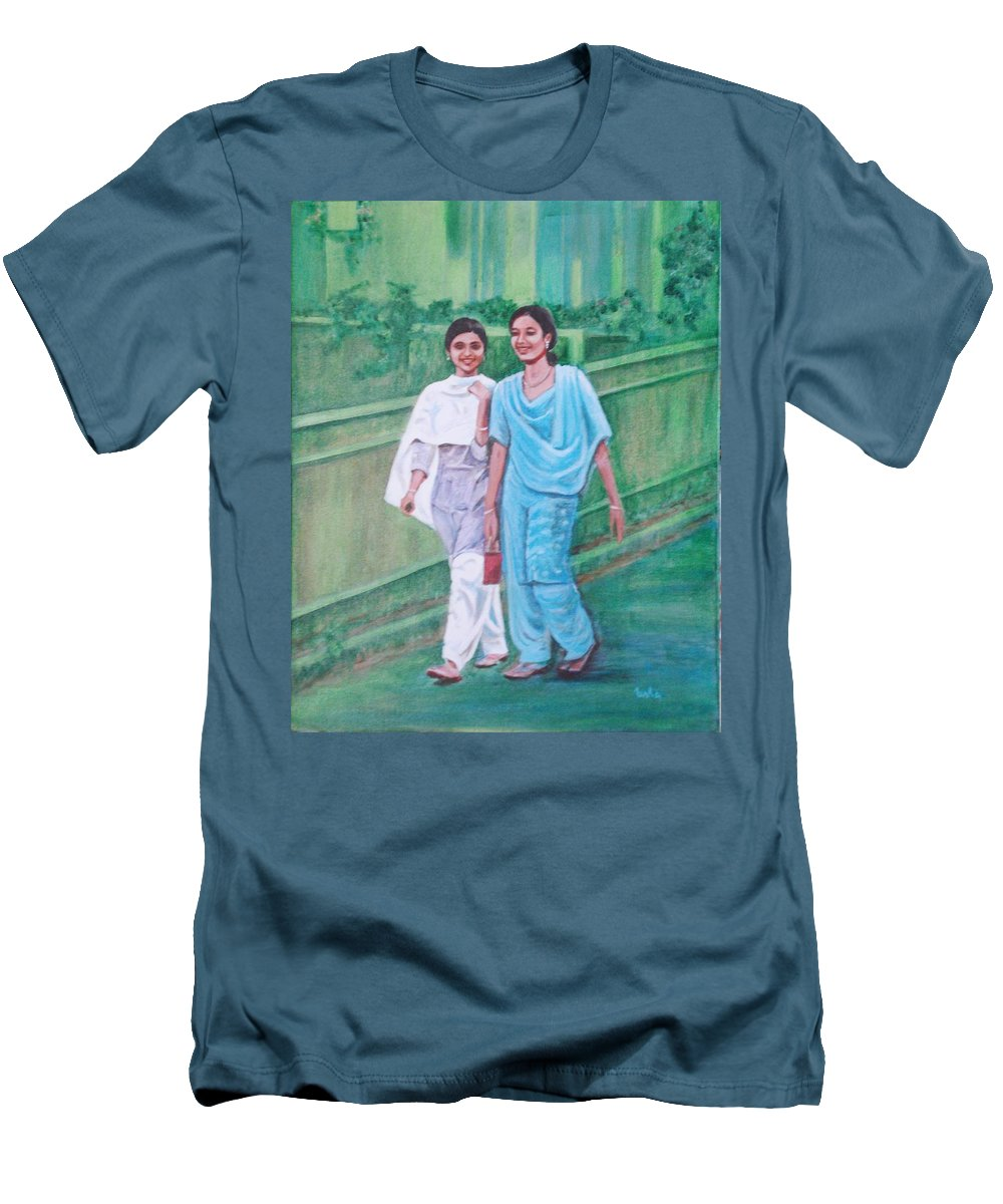 Men's T-Shirt (Athletic Fit) featuring the painting Laughing Girls by Usha Shantharam