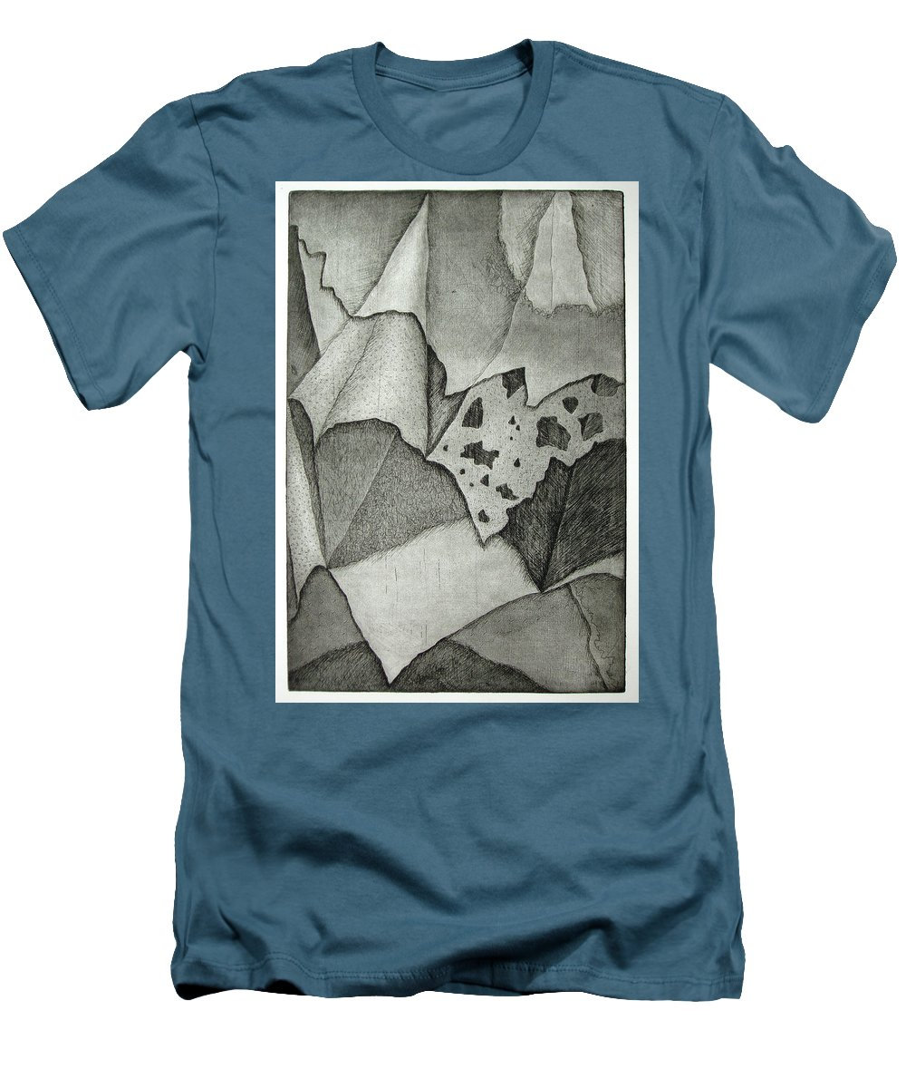 Etching Men's T-Shirt (Athletic Fit) featuring the drawing Layers by Nancy Mueller