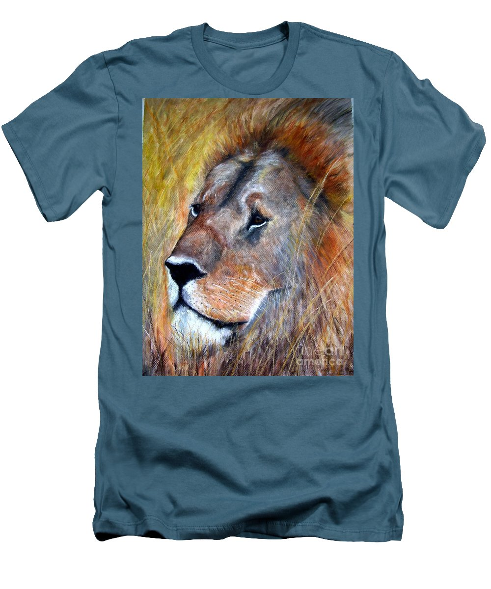 Lion Men's T-Shirt (Athletic Fit) featuring the painting leo by Frances Marino