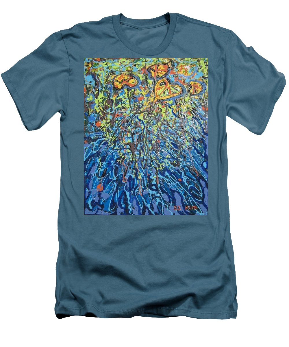 Lily Pads Paintings Men's T-Shirt (Athletic Fit) featuring the painting Lily Pads Water Lily Paintings by Seon-Jeong Kim