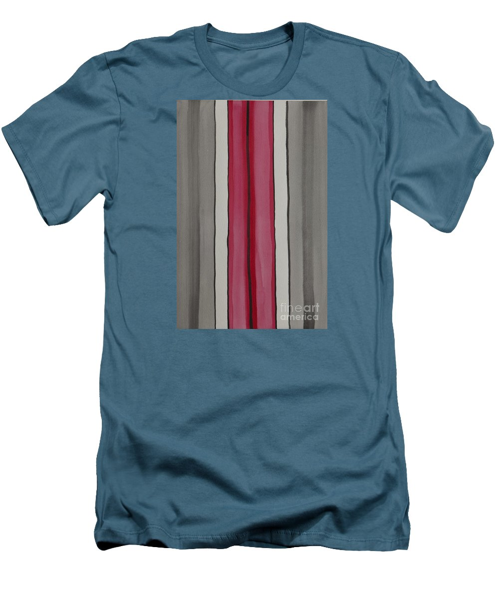 Red Men's T-Shirt (Athletic Fit) featuring the painting Lines by Jacqueline Athmann