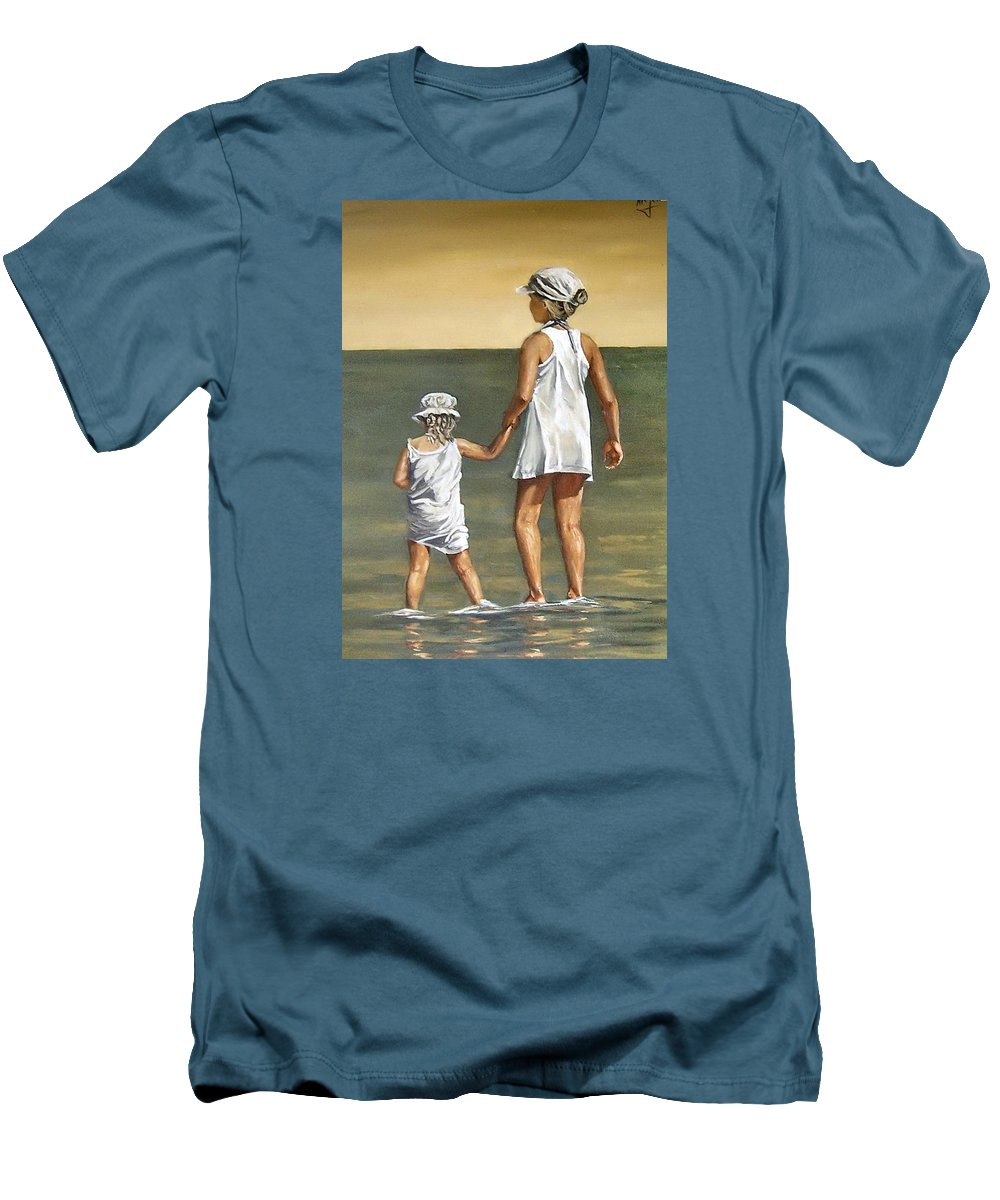 Little Girl Reflection Girls Kids Figurative Water Sea Seascape Children Portrait Men's T-Shirt (Athletic Fit) featuring the painting Little Sisters by Natalia Tejera