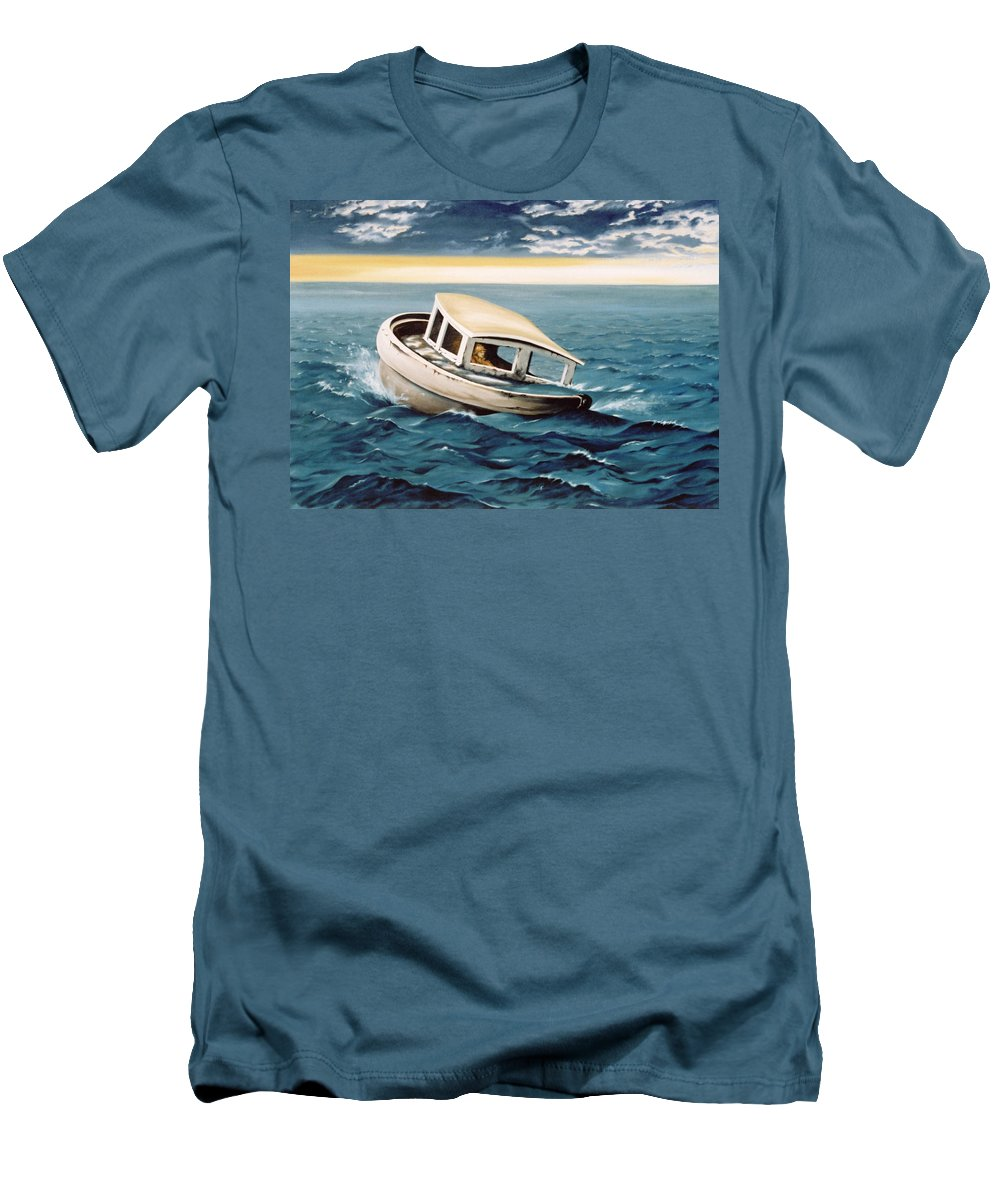 Seascape Men's T-Shirt (Athletic Fit) featuring the painting Lost At Sea by Mark Cawood