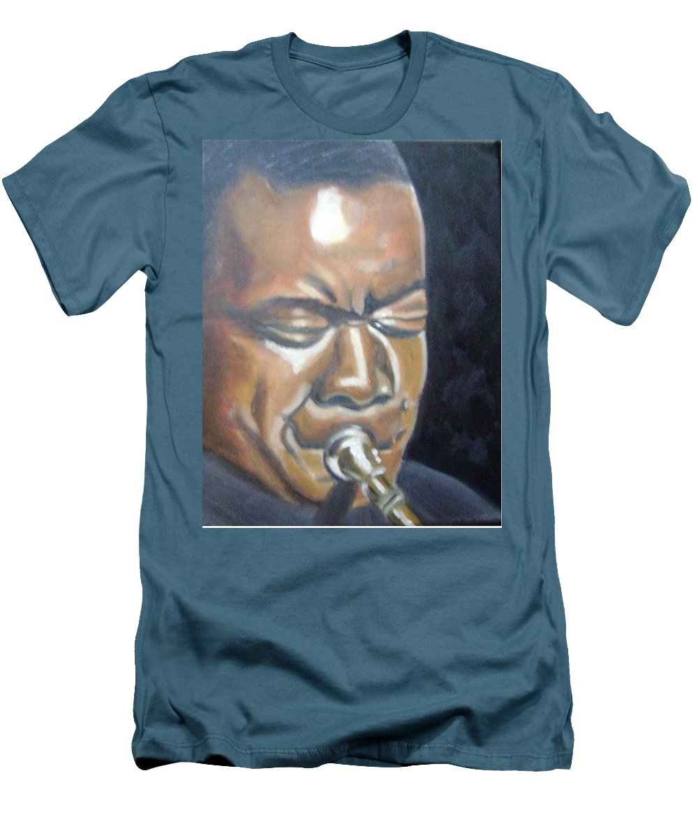 Louis Armstrong Men's T-Shirt (Athletic Fit) featuring the painting Louis Armstrong by Toni Berry