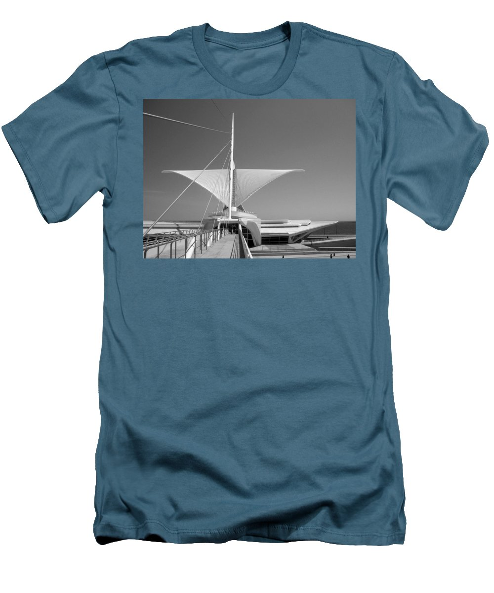 Mam Men's T-Shirt (Athletic Fit) featuring the photograph Mam Wings Spread B-w by Anita Burgermeister