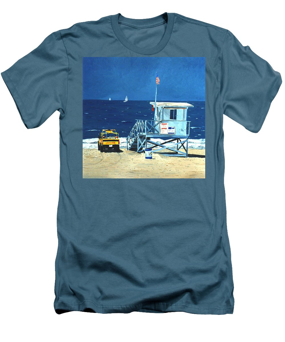 Modern Men's T-Shirt (Athletic Fit) featuring the painting Manhattan Beach Lifeguard Station by Lance Headlee
