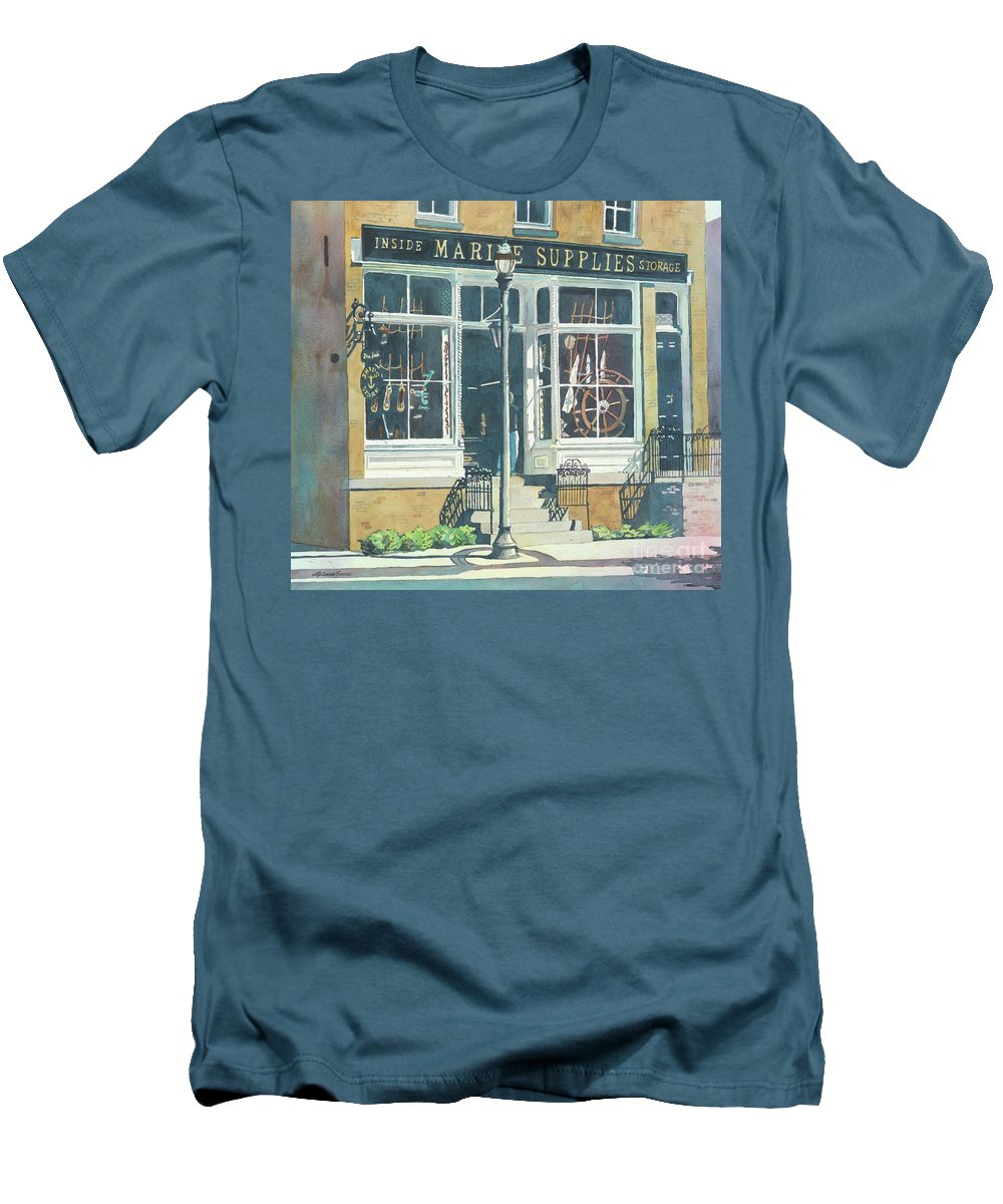 Storefronts Men's T-Shirt (Athletic Fit) featuring the painting Marine Supply Store by LeAnne Sowa