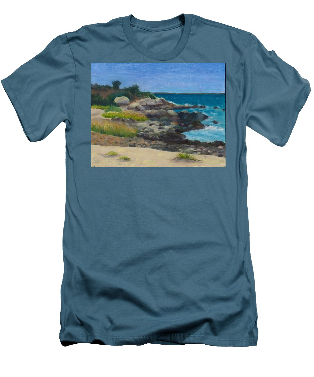 Landscape Men's T-Shirt (Athletic Fit) featuring the painting Meigs Point by Paula Emery