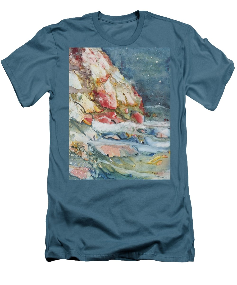 Abstract Men's T-Shirt (Athletic Fit) featuring the painting Midnight Surf by Ruth Kamenev