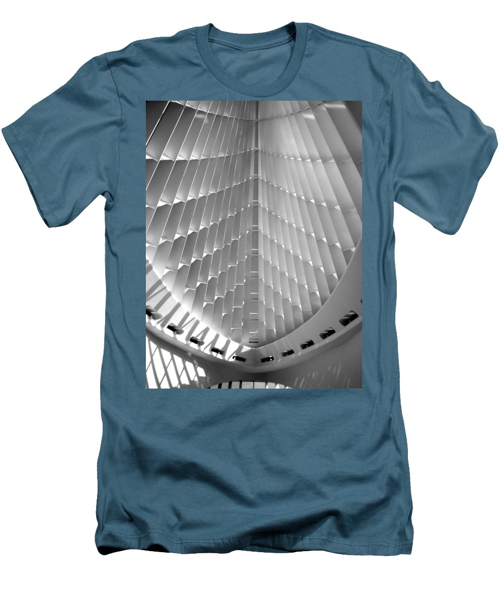 Mam Men's T-Shirt (Athletic Fit) featuring the photograph Milwaukee Art Museum Interior B-w by Anita Burgermeister