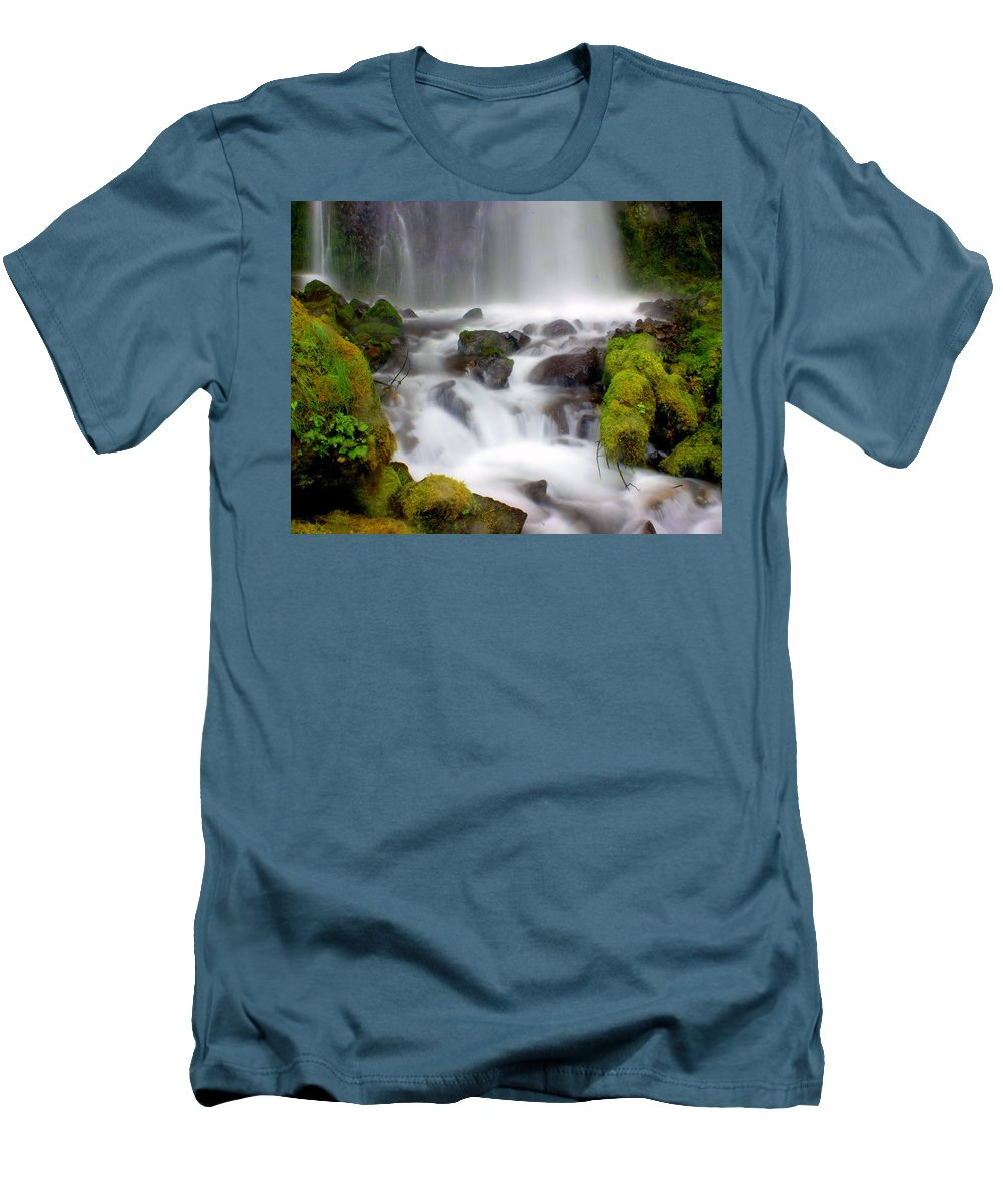 Waterfall Men's T-Shirt (Athletic Fit) featuring the photograph Misty Waters by Marty Koch