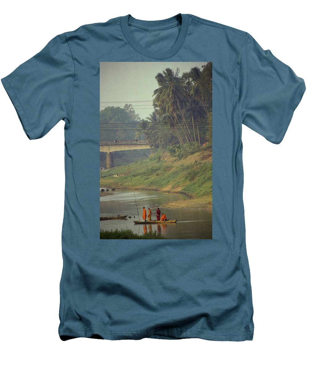 Monks Men's T-Shirt (Athletic Fit) featuring the photograph Monks - Battambang by Patrick Klauss