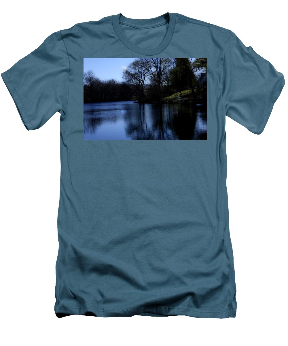 Moon Men's T-Shirt (Athletic Fit) featuring the digital art Moon Over The Charles by Edward Cardini
