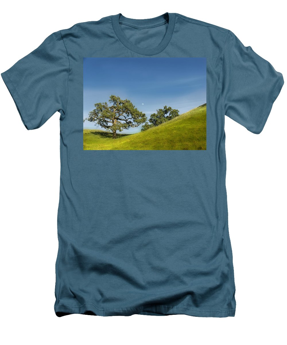Landscape Men's T-Shirt (Athletic Fit) featuring the photograph Moon Rising by Karen W Meyer