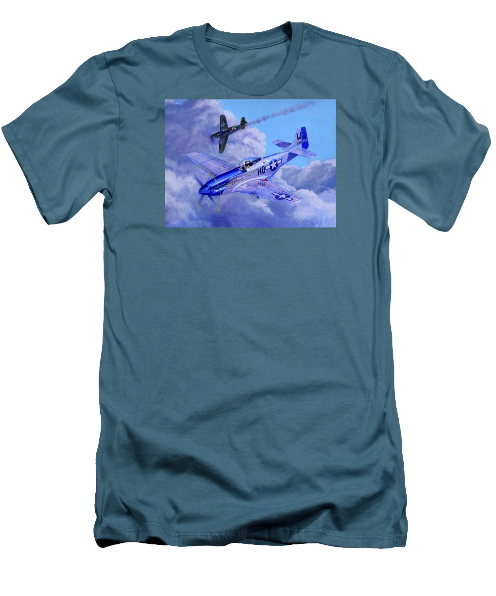 Capt Bill Wisner Shoots Down Two Bf-109s On November 2nd 1944 Men's T-Shirt (Athletic Fit) featuring the painting Moonbeam Mcswine by Scott Robertson