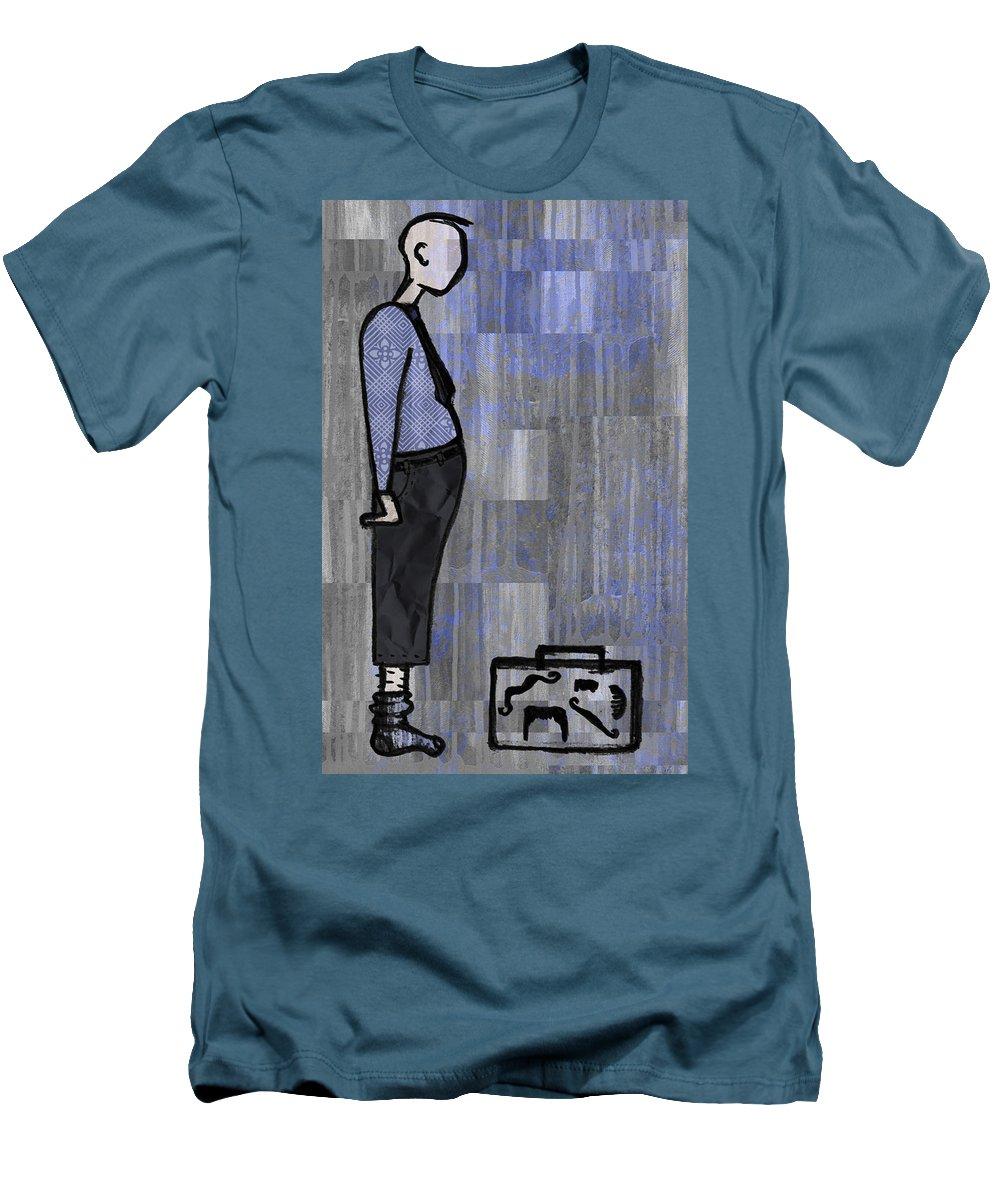 Salesman Men's T-Shirt (Athletic Fit) featuring the digital art Moustache Salesman by Kelly Jade King
