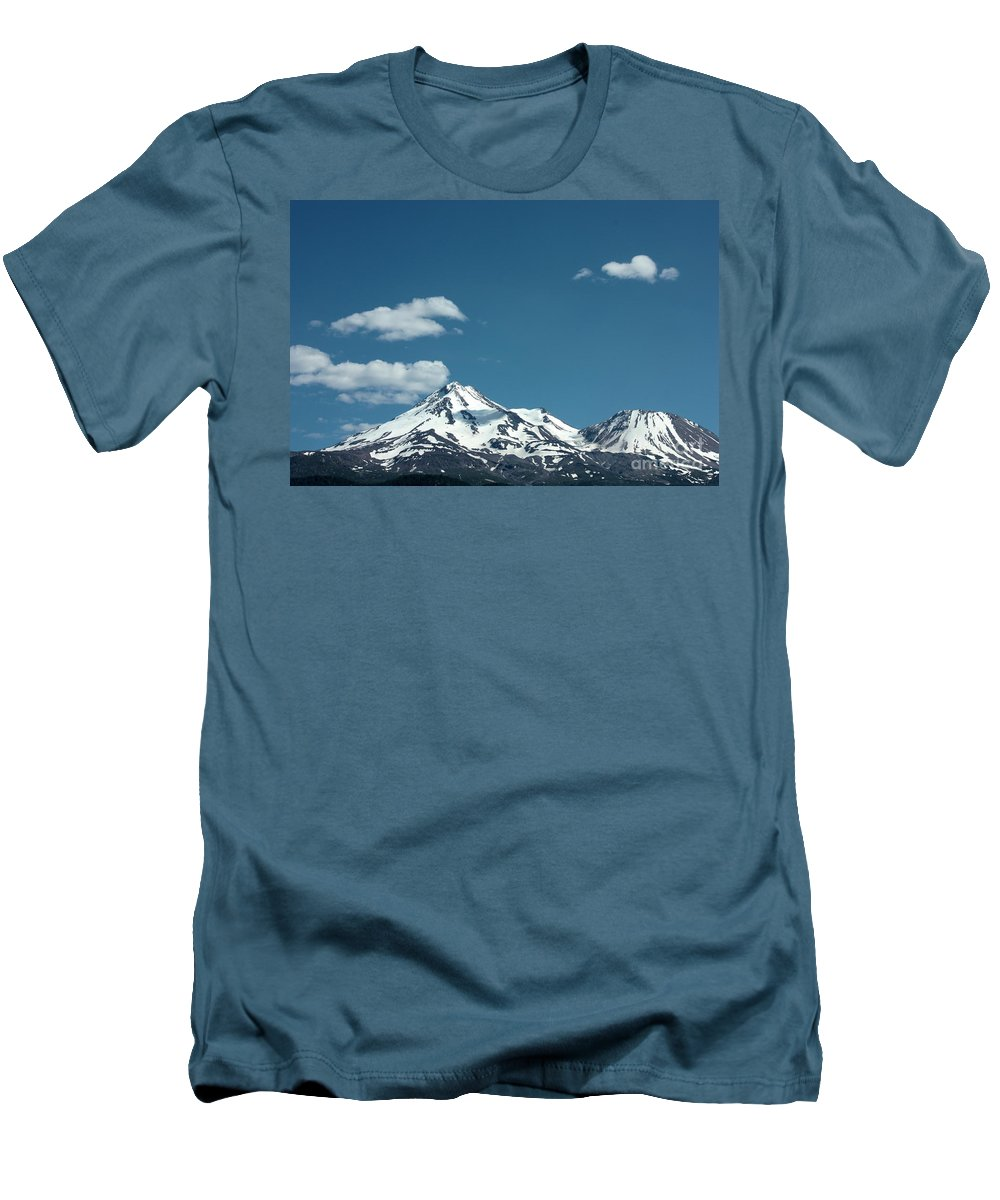 Cloud Men's T-Shirt (Athletic Fit) featuring the photograph Mt Shasta With Heart-shaped Cloud by Carol Groenen