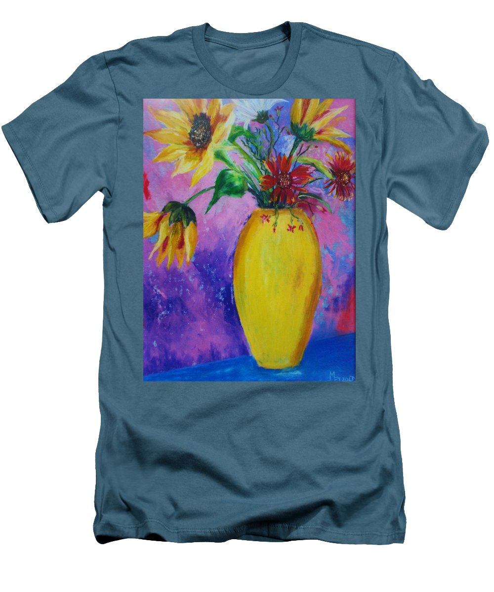 Sunflowers Men's T-Shirt (Athletic Fit) featuring the painting My Flowers by Melinda Etzold