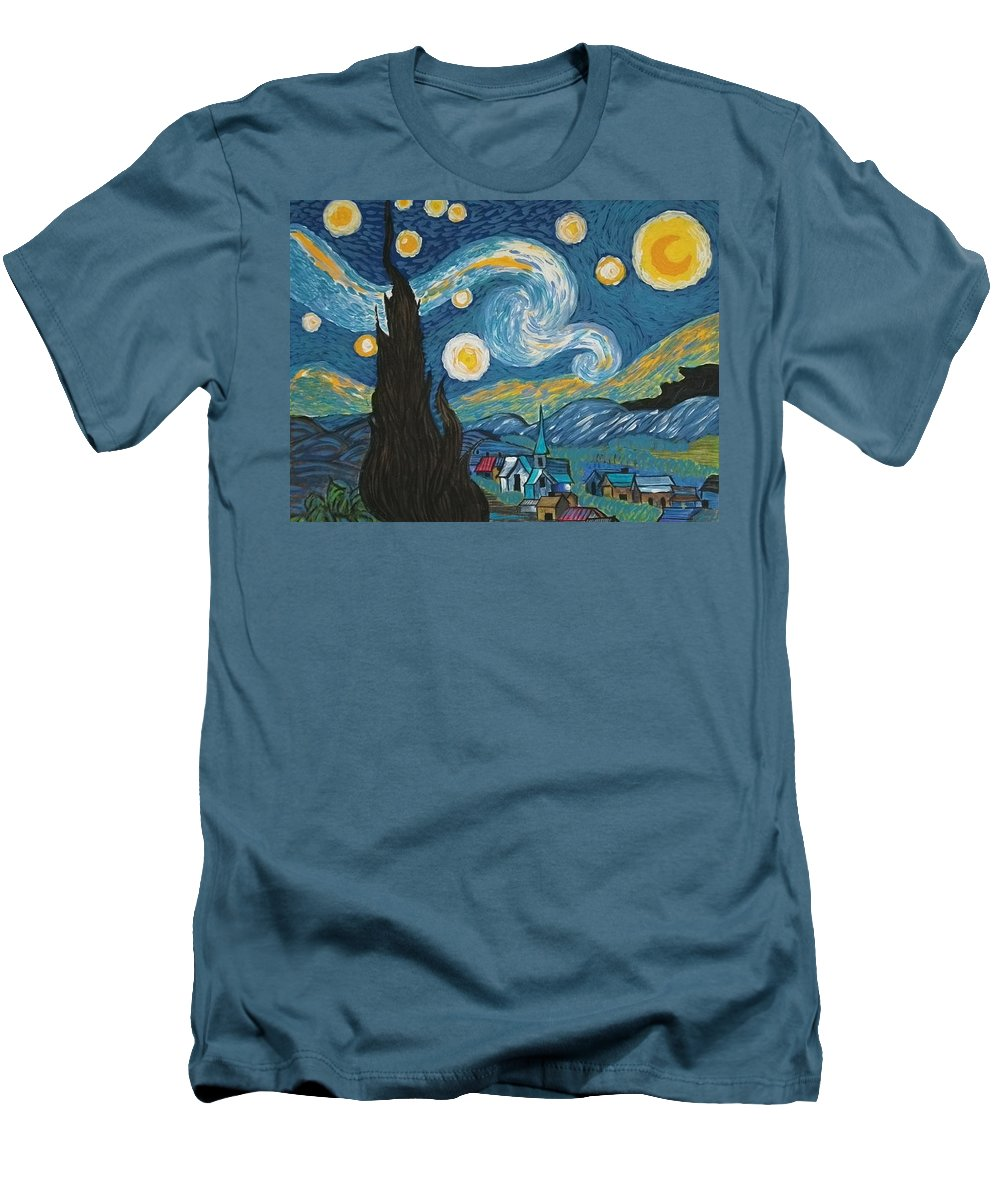 Vincent Men's T-Shirt (Athletic Fit) featuring the painting My Starry Nite by Angela Miles Varnado