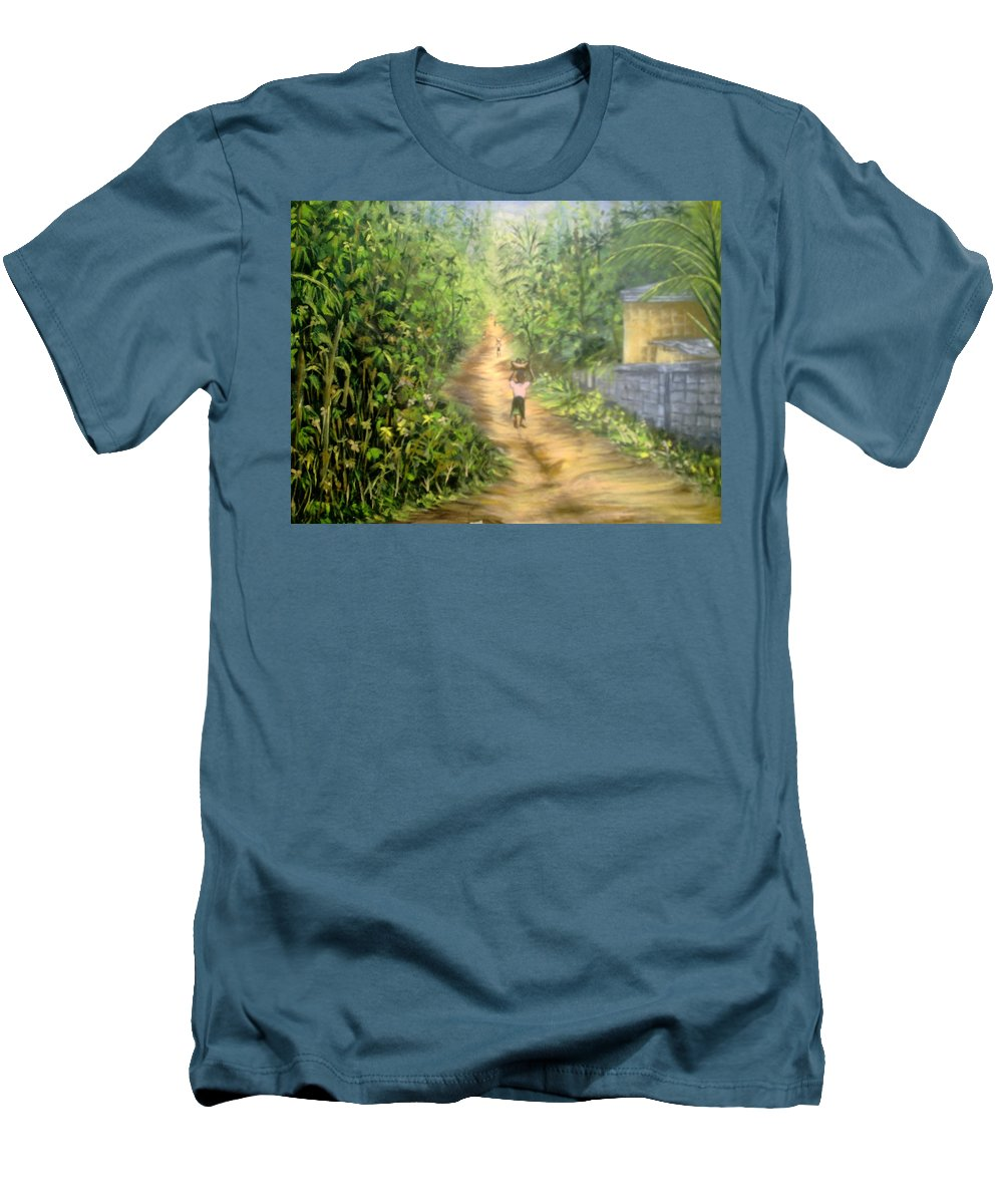 Culture Men's T-Shirt (Athletic Fit) featuring the painting My Village by Olaoluwa Smith