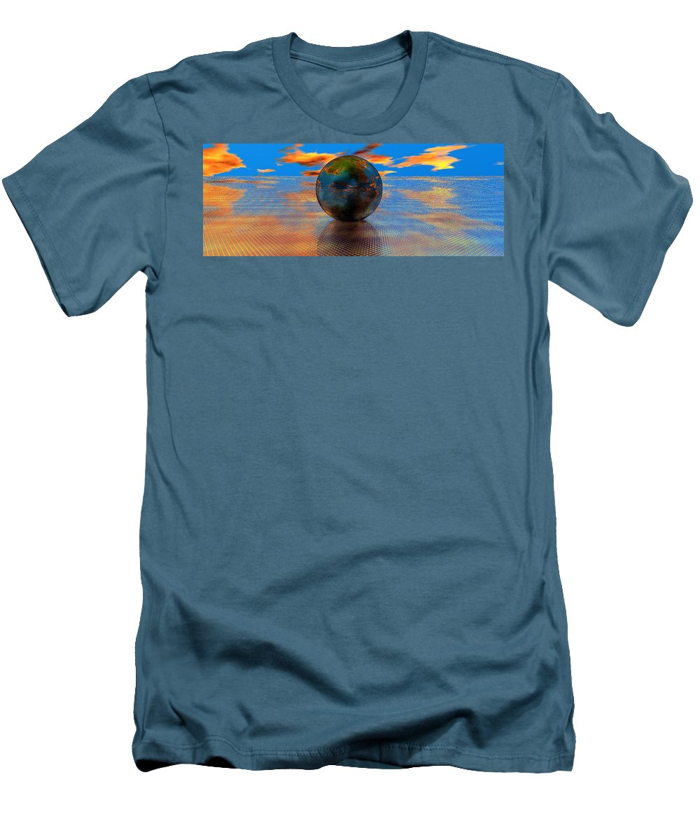Mystical Men's T-Shirt (Athletic Fit) featuring the digital art Mystical Blue by Oscar Basurto Carbonell