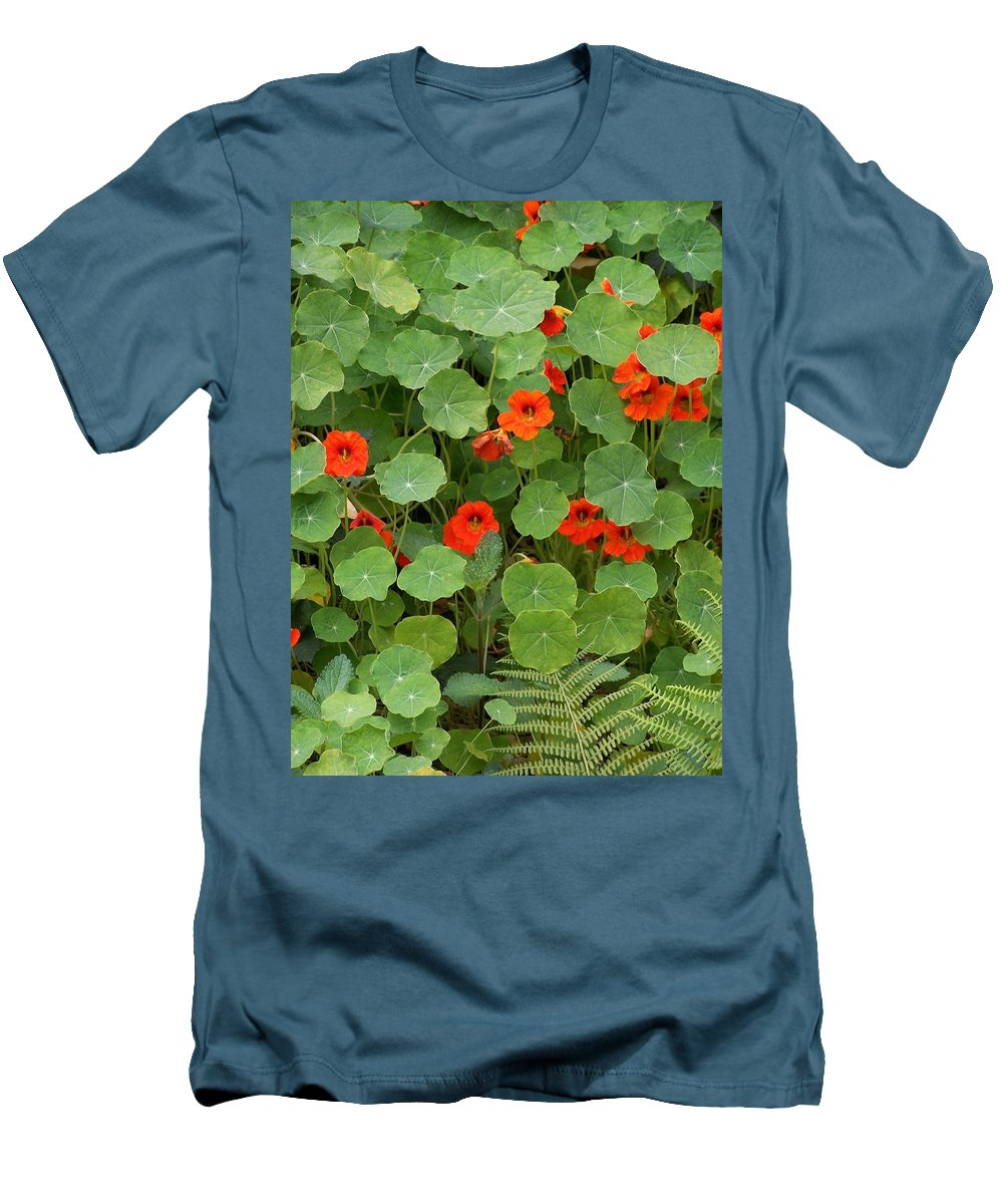 Nasturtiums Men's T-Shirt (Athletic Fit) featuring the photograph Nasturtiums by Gale Cochran-Smith