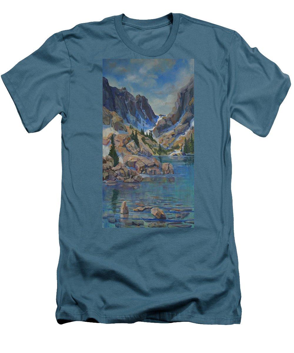 Hayden Spires Men's T-Shirt (Athletic Fit) featuring the painting Near Hayden Spires by Heather Coen