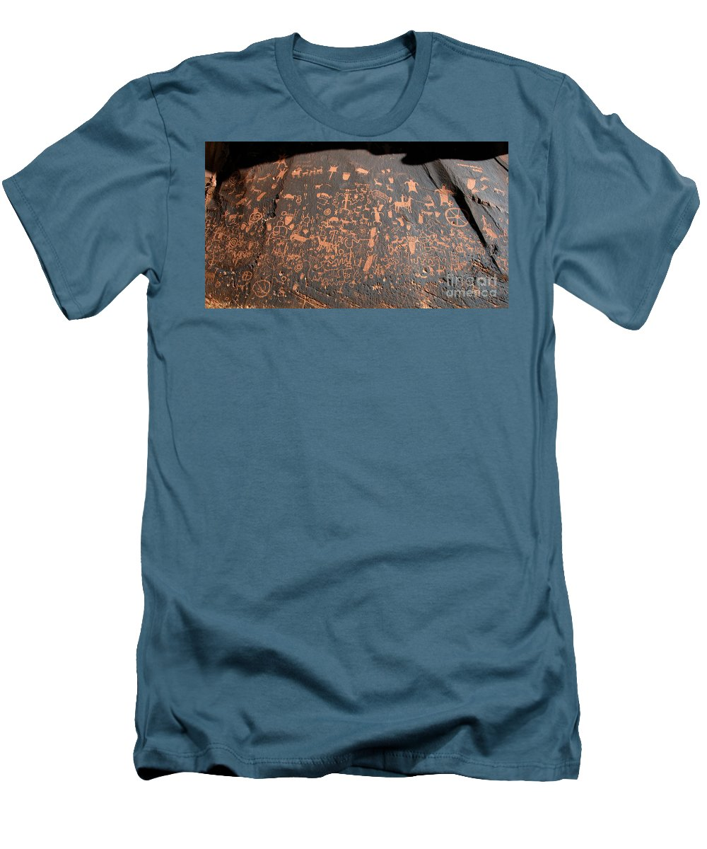 Newspaper Rock State Park Utah Men's T-Shirt (Athletic Fit) featuring the photograph Newspaper Rock by David Lee Thompson