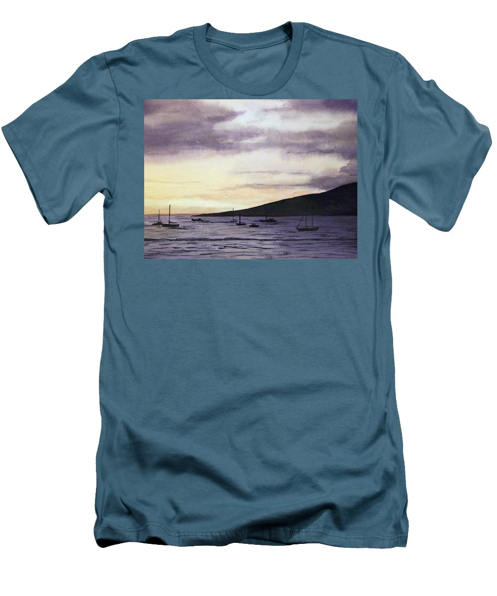 Seascape Men's T-Shirt (Athletic Fit) featuring the painting No Safer Harbor Lahaina Hawaii by Brenda Owen