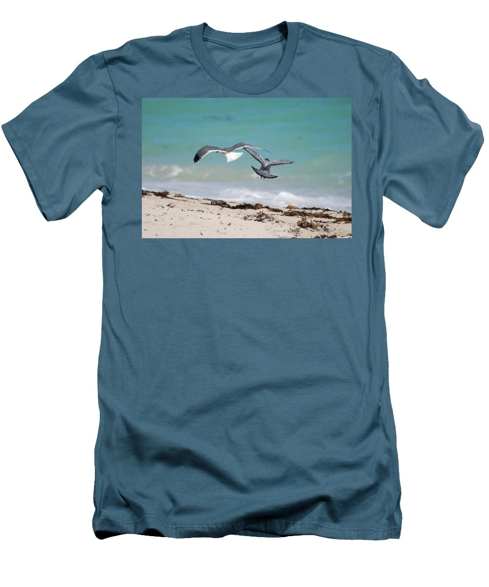 Sea Scape Men's T-Shirt (Athletic Fit) featuring the photograph Ocean Birds by Rob Hans