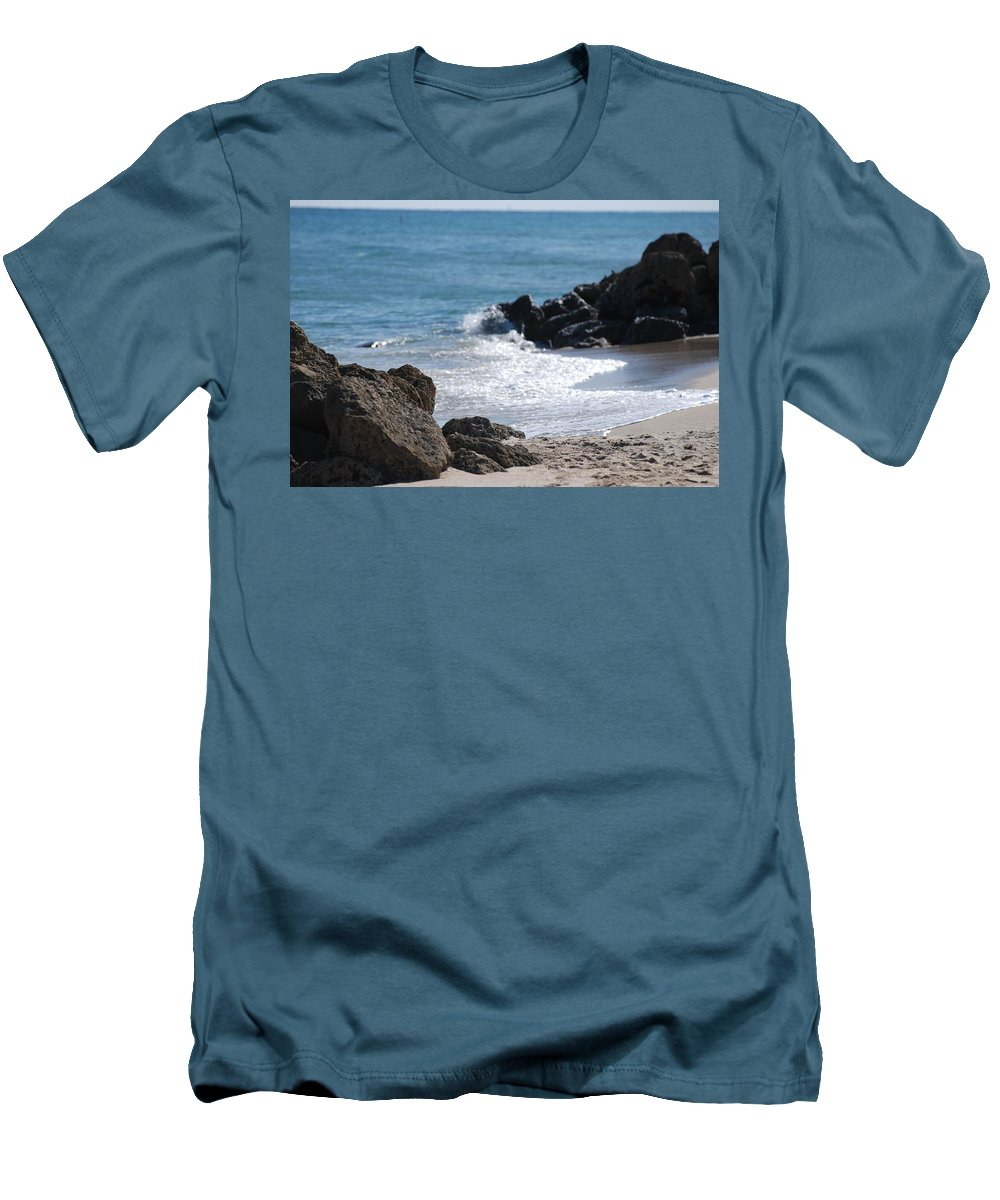 Sea Scape Men's T-Shirt (Athletic Fit) featuring the photograph Ocean Rocks by Rob Hans